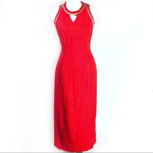 Deborah Laws Vintage Red Nautical Open Back Dress